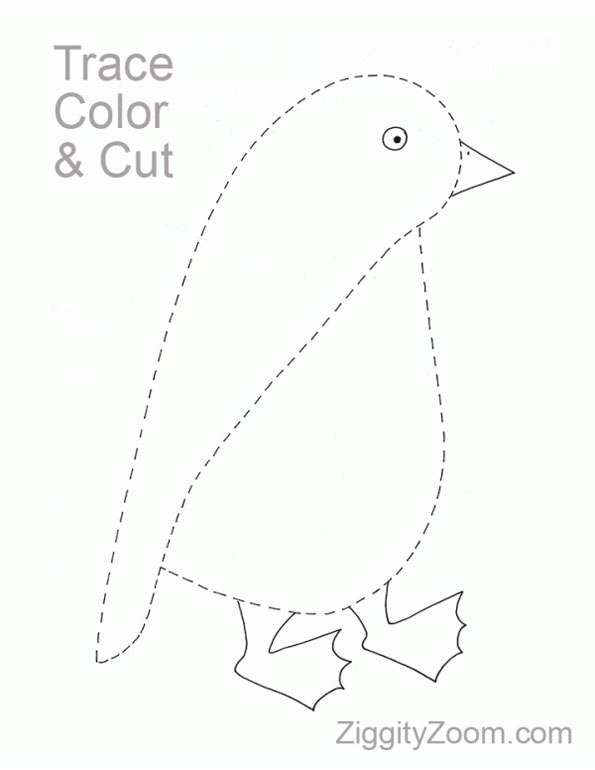 penguin trace painting coloring