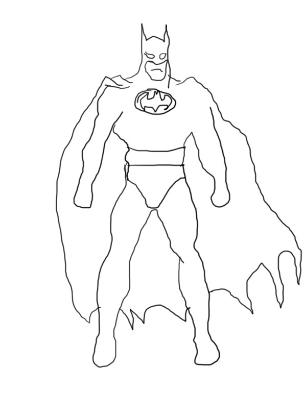 batman cartoon drawing coloring