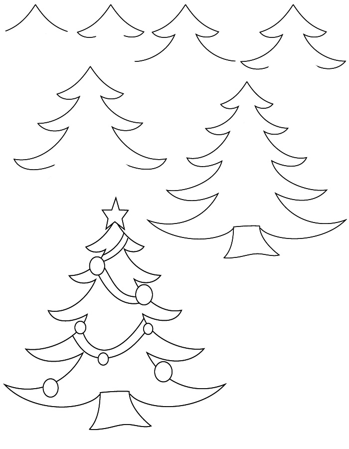 learn how to draw a christmas tree with simple step by step